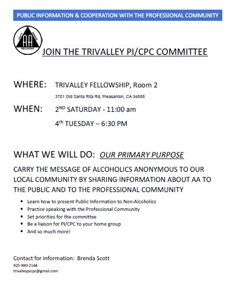 PICPC monthly meeting flyer